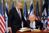 Israel's Prime Minister Netanyahu laughs with U.S. Vice President Biden in Jerusalem