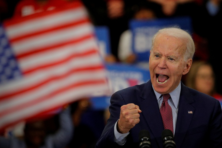 Democratic U.S. presidential candidate and former Vice President Joe Biden speaks during a campaign stop in Detroit, Michigan